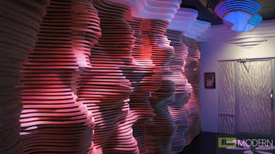 3d PVC wall paneling with lighting effects and colored combination