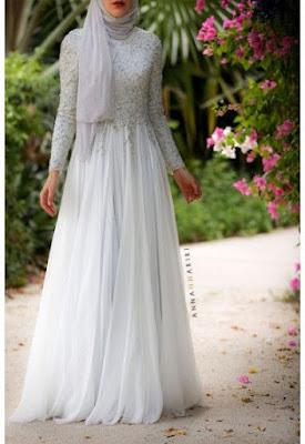 Kumpulan Baju Gamis Muslim Kombinasi Brokat Terbaru Warna Putih
