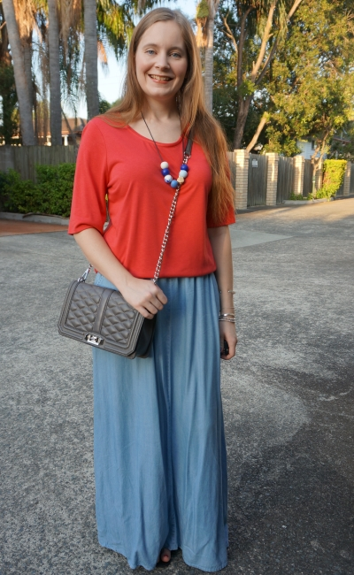 mum style chambray maxi skirt red round neck emma jeanswest tee | away from blue