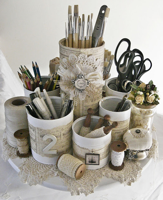 Tin-Can Caddy- Shabby Chic Inspired