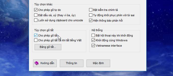 bảng gõ tắt trong unikey