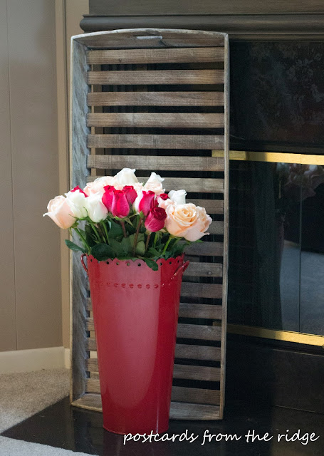 Roses in a red French flower bucket. Beautiful!