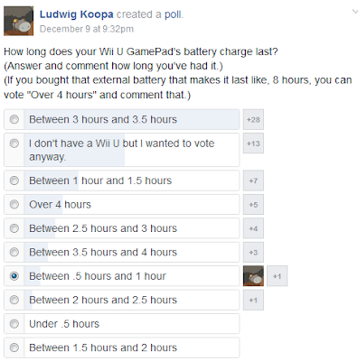 How long does your Wii U GamePad battery charge last Facebook poll Nintendo hours