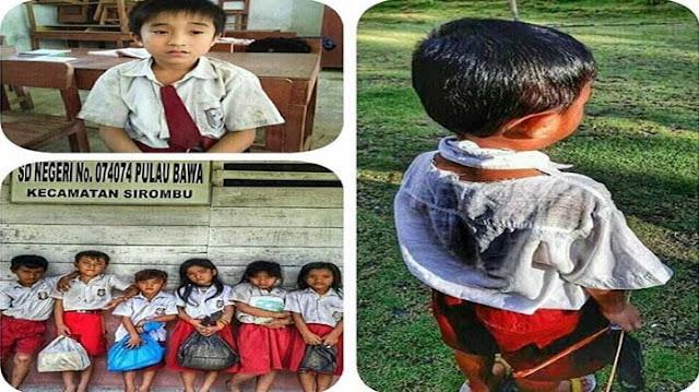 Miris Nasib Siswa SD DI Pulau Ini, Berangkat Pakai Sandal Dengan Pakaian Lusuh