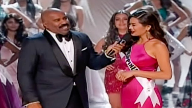 Mr Steve Harvey with Top 13 Maxine Medina of the Philippines