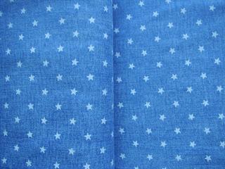 modrý jeansový úplet biele hviezdičky