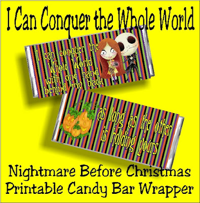 """""""I can conquer the whole world with one hand behind my back, as long as the other is holding yours."""" What a great card for someone you love who loves Jack Skellington and the Nightmare Before Christmas. This printable candy bar wrapper can be used as a card and a gift to let someone special know how much they mean to you."""