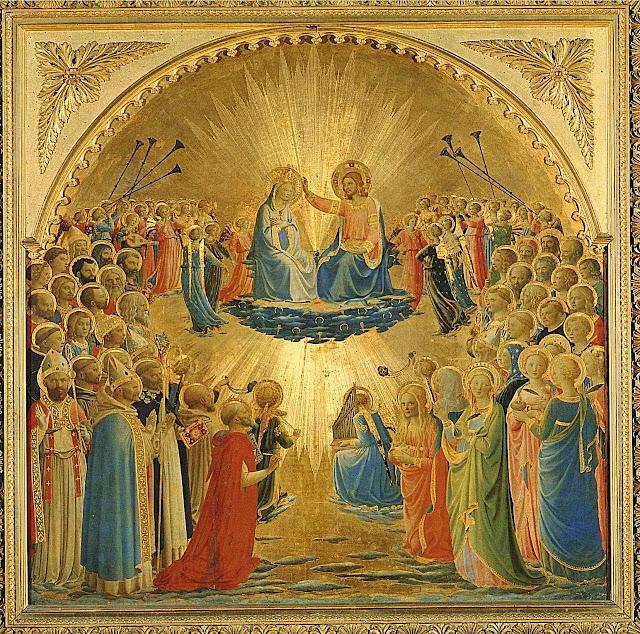 Coroação de Nossa Senhora no Céu. Fra Angelico (1395 – 1455). Galeria degli Uffizi, Florença.