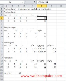 Rumus Excel Penjumlahan Dan Pengurangan Dalam Satu Kolom : rumus, excel, penjumlahan, pengurangan, dalam, kolom, BELAJAR, EXCEL:, Rumus, Penjumlahan,, Pengurangan,, Perkalian,, Pembagian, Excel