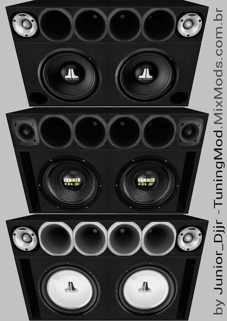 gta sa modelagem modelo alto-falantes eros hammer jl audio corneteira tweeter hinor selenium
