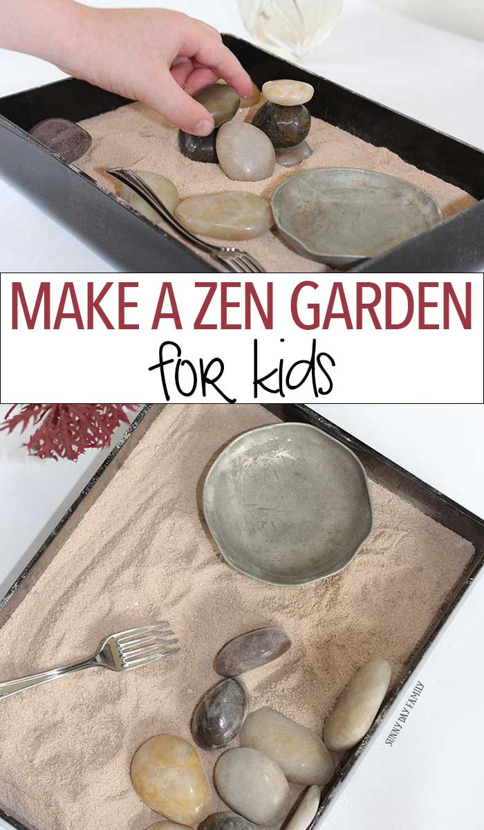 Make a zen garden for kids! This mini Japanese rock garden craft is inspired by the Peace Tree of Hiroshima and is perfect for a Family Dinner Book Club table craft! Why buy a kit when you can make this zen garden with a few materials around your home? Perfect calm down activity for everyone in the family!