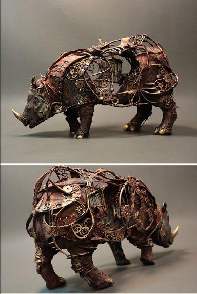 Incredible Steampunk Inspired Rhino Sculpture