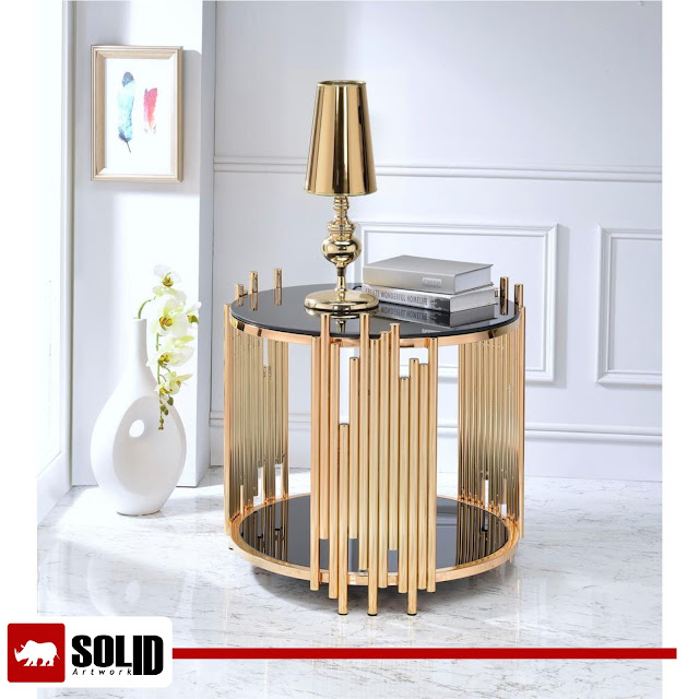 Tanquin End Table Black Glass Gold