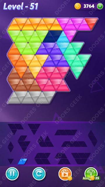 Block! Triangle Puzzle Champion Level 51 Solution, Cheats, Walkthrough for Android, iPhone, iPad and iPod