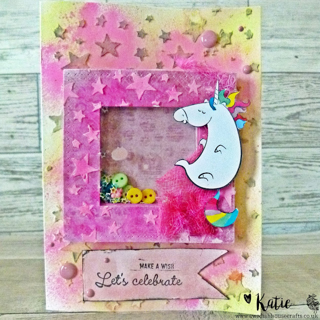 Let's Celebrate- Gummiapan Unicorn Shaker Card | By Katie