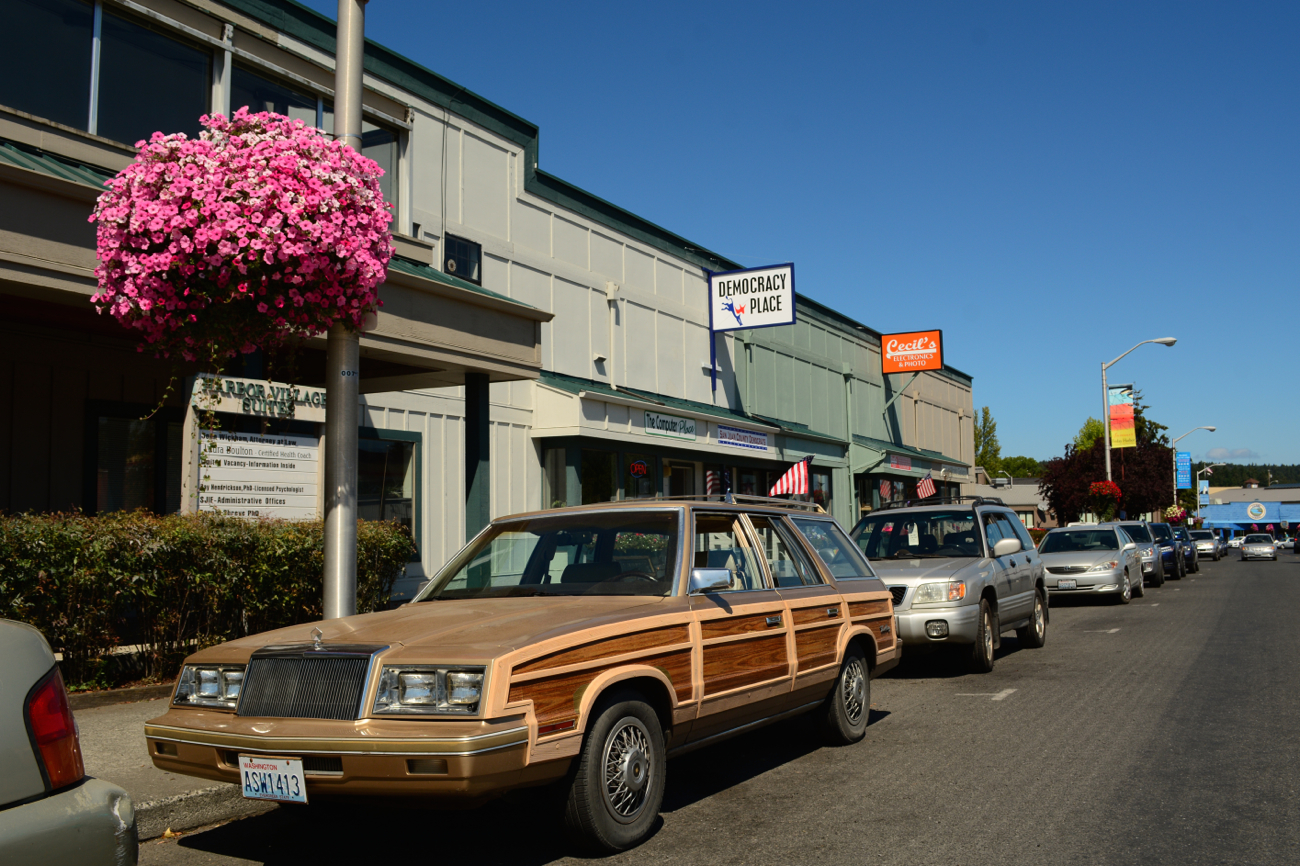 OLD PARKED CARS.: 1983 Chrysler Town and Country.