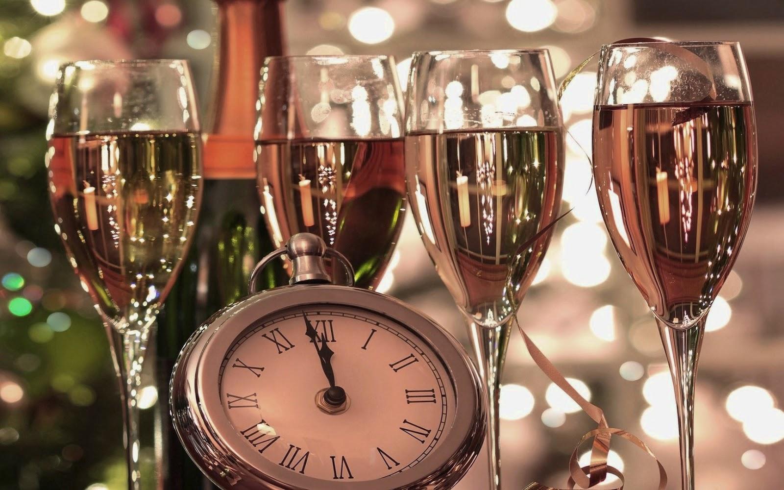 Foto met de klok en champagne
