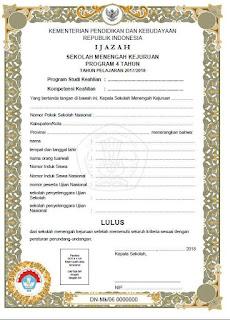 Blangko Ijazah SMK 2018 Kurikulum 2006, 4 Tahun