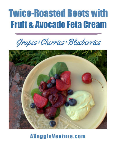 Twice-Roasted Beets with Red Grapes, Cherries, Blueberries & Avocado Feta Cream, another easy summer salad ♥ AVeggieVenture.com. Weeknight Simple, Worthy of a Weekend Occasion. Familiar Ingredients In An Unfamiliar Combination. Best Recipe August 2014. Naturally Gluten Free. Vegetarian.
