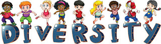 Clipart Image of Multi-Racial, Multi-Gender Children Standing on the Word Diversity