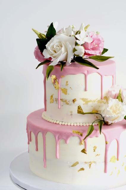 bánh sinh nhật hoa hồng kết hợp kem