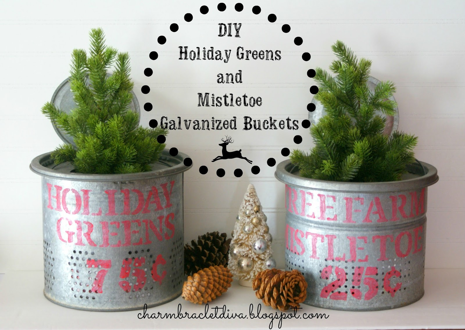 Our hopeful home diy holiday greens mistletoe for Christmas tin pails