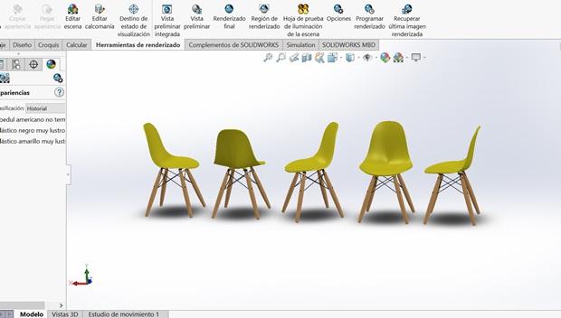 diferentes vistas silla eames dsw diseñada en solidworks