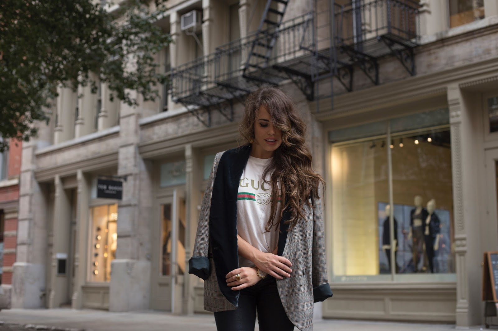 gucci t-shirt, vintage gucci, oversized boyfriend blazer, outfits for the fall, how to dress for fall in nyc, top nyc bloggers, how to style over the knee black boots, how to style a gucci t, how to wear a boyfriend blazer, free people blazer, plaid boyfriend blazer, affordable black skinny jeans, nyc street style, new york style, how to grow your personal brand, personal brand, new blogger