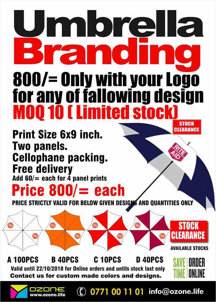 Print your full color logo on Promotional Umbrella  Ozone Branding  Print Size 6x9 inch. Two/Four panels. Cellophane packing. Free delivery  Price valid for given quantity and designs only and for online orders only.  තොග අවසන් කිරීමේ විශේෂ මිළ ගණන්. පැනල් 2/4 ක ඔබේ ලාංඡනය මුද්රණයත් සමග  27/11/2018 දින දක්වා හෝ තොග අවසන් වනතුරු ඔන්ලයන් අැණවුම් සදහා වලංගුෙවේ  Call/SMS 077 100 11 01 or visit www.ozone.life or mail us on info@ozone.life  https://www.facebook.com/ozonebranding/  #umbrella #branding #