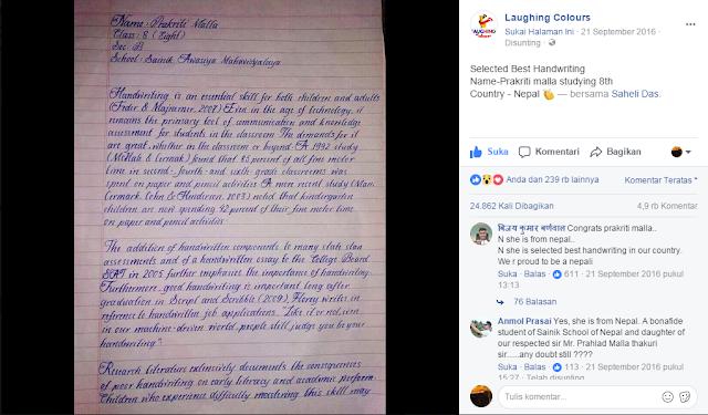 Praktiri Malla, 8 tahun, memiliki tulisan tangan yang sangat indah sehingga hasil membuat heboh sejumlah netizen