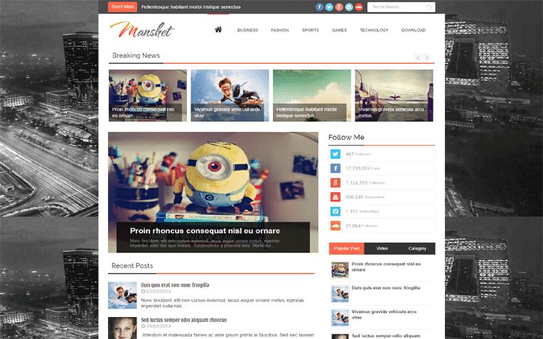 Manshet Free Blogger Template