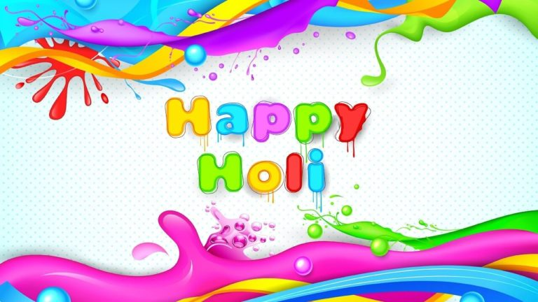 Happy Holi Wallpaper 2019 768x432 - Best Shayari images of holi 50+