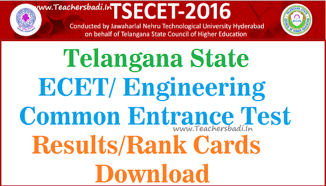 TS ECET,Results,TSECET Rank cards