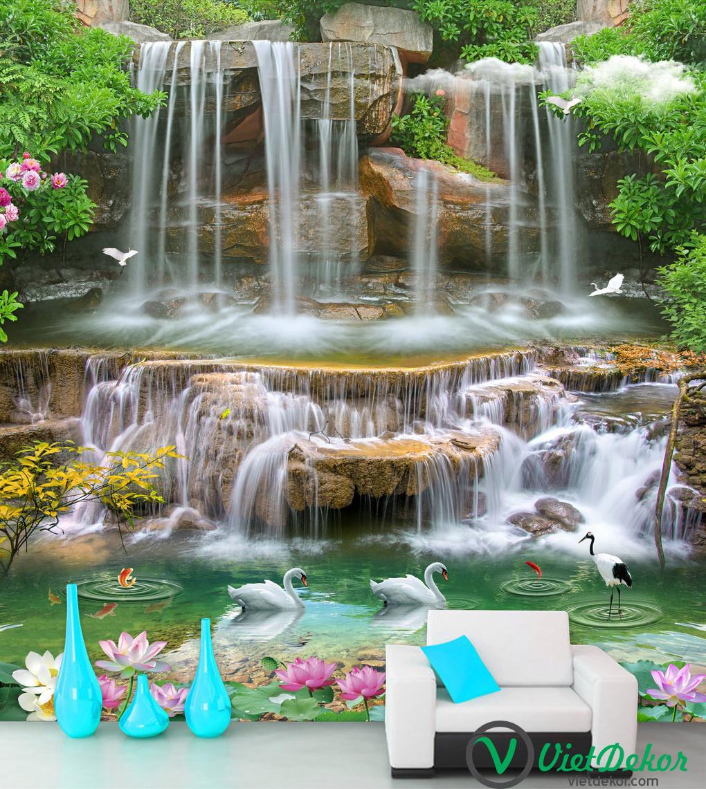 Tranh khổ đứng thác nước thiên nga sảng phòng khách