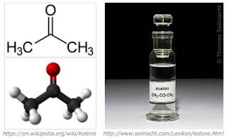 Aseton, salah satu contoh senyawa golongan alkanon