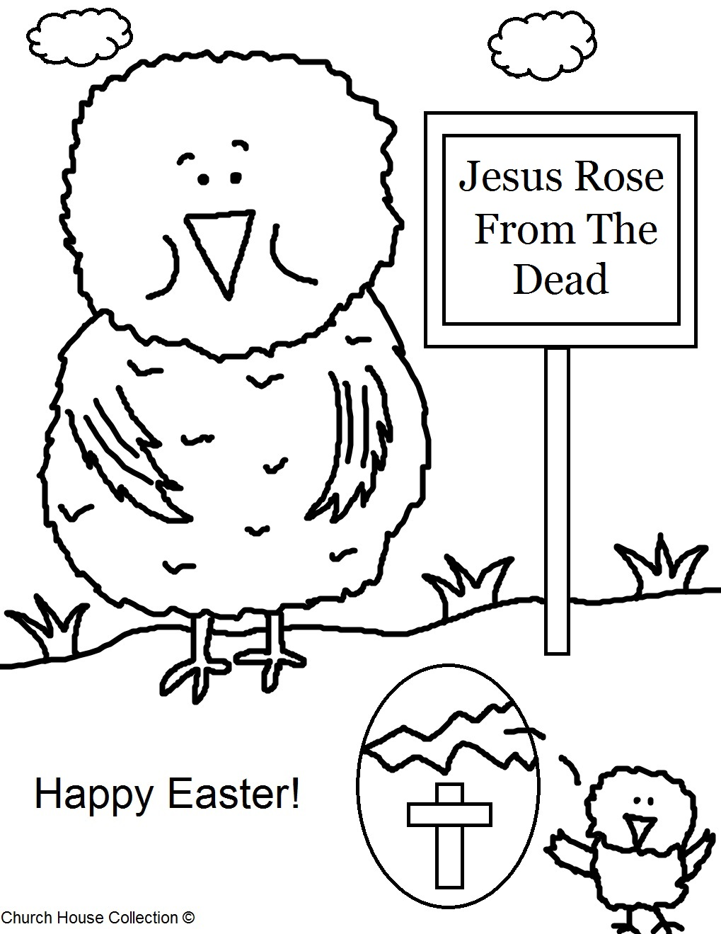Happy Easter chick coloring page Royalty Free Vector Image | 1319x1019