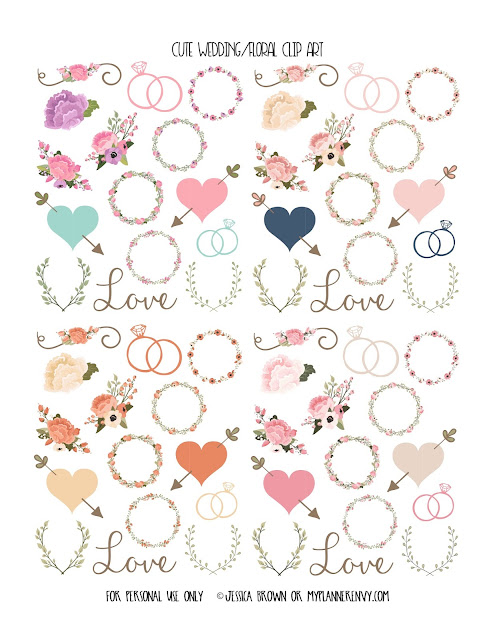 Cute Wedding/Floral Clip Art from myplannerenvy.com