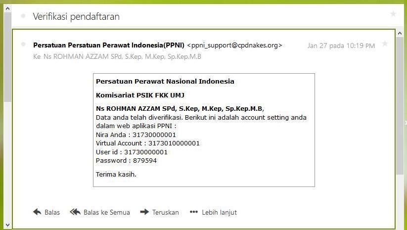 verifikasi pendaftaran akun PPNI pada cek email