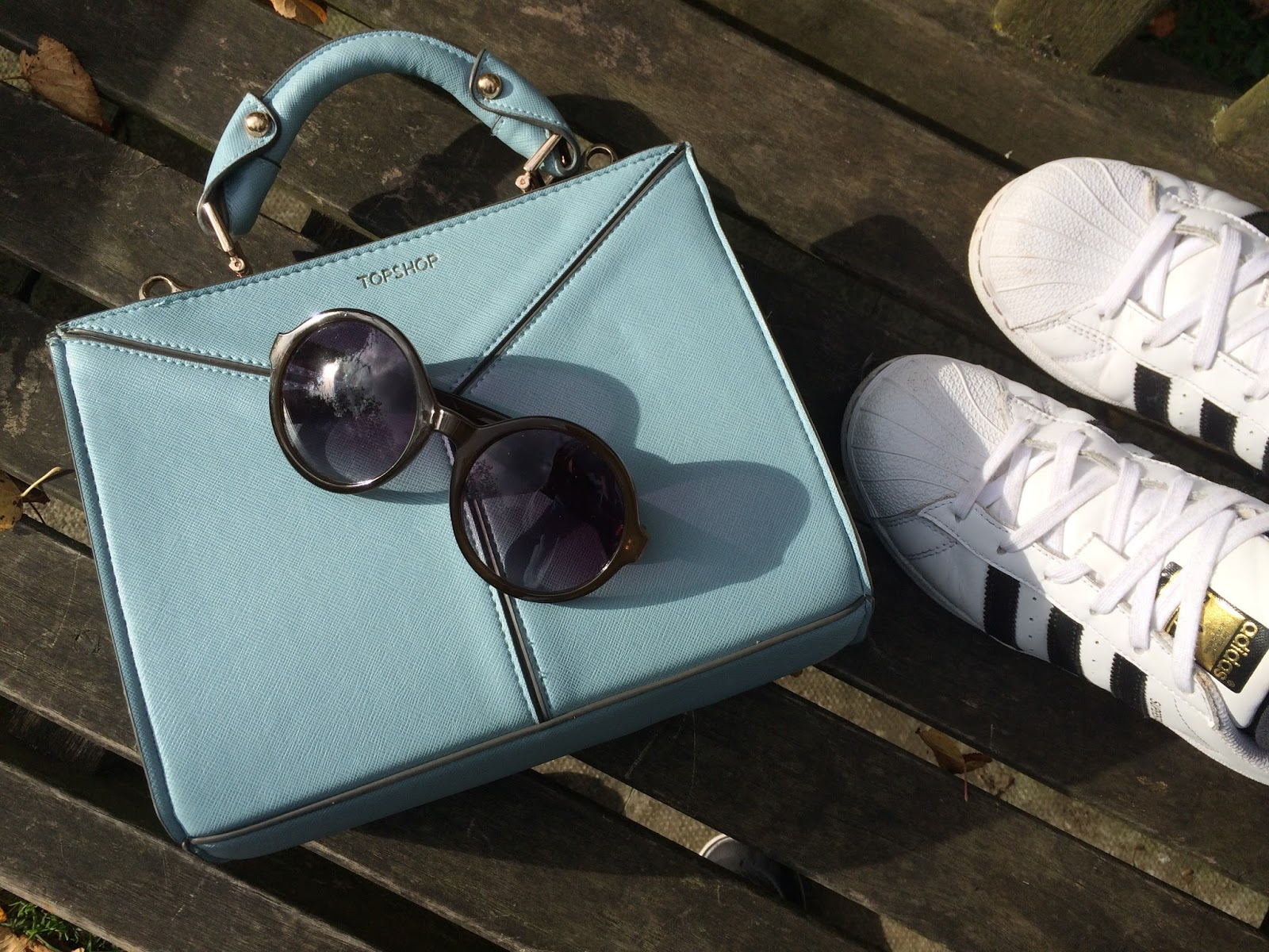 ootd, outfit post, fashion blogger, accessories flat lay, topshop mini bag, sunglasses, adidas trainers