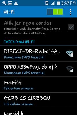 memilih jaringan wifi pdanet