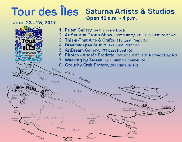 Saturna Artists and Studios,Tour des Îles 2017 map