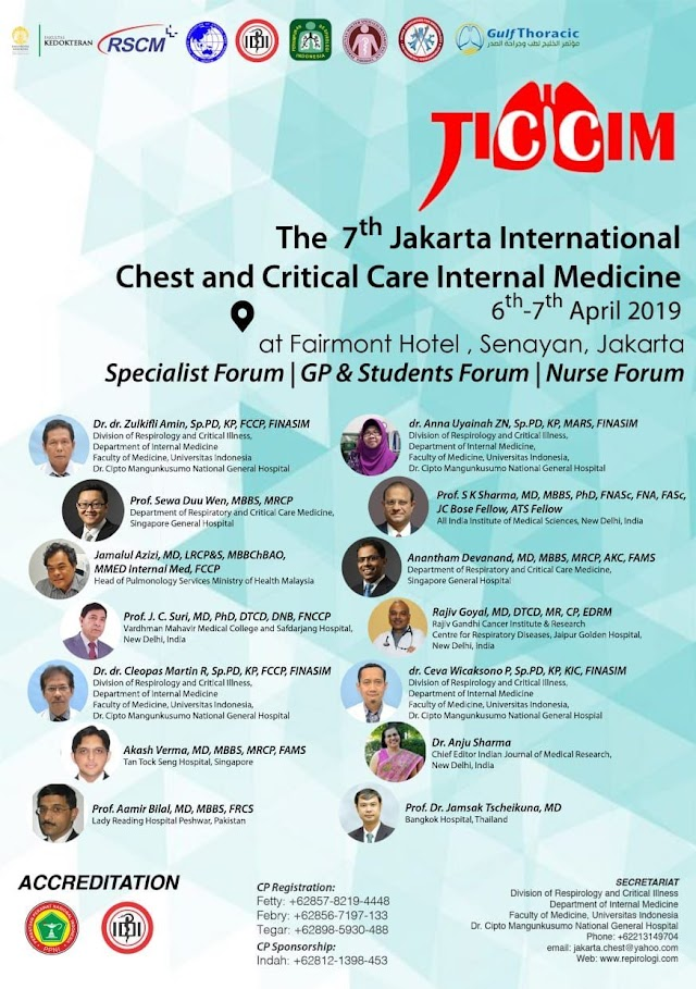 Symposium dan Workshop JICCIM 2019 (The 7th Jakarta Internasional Chest and Critical Care Internal Medicine) 6-7 April 2019 Jakarta (SKP IDI)