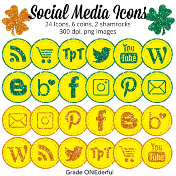 St. Patrick's Day Social Media Icons. Super cute and perfect for your teacher product page. Also includes a free set of monsters.#stpatricksday #stpatricksdayclipart #freeclipart #gradeonederful
