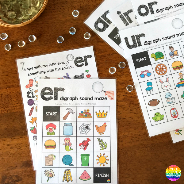 Sound Mazes and I Spy Games for the controlled R digraph sounds perfect for Word Work or Literacy Centers | you clever monkey