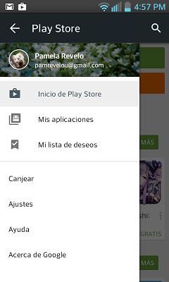 Ejemplo de Navigation Drawer en Google Play