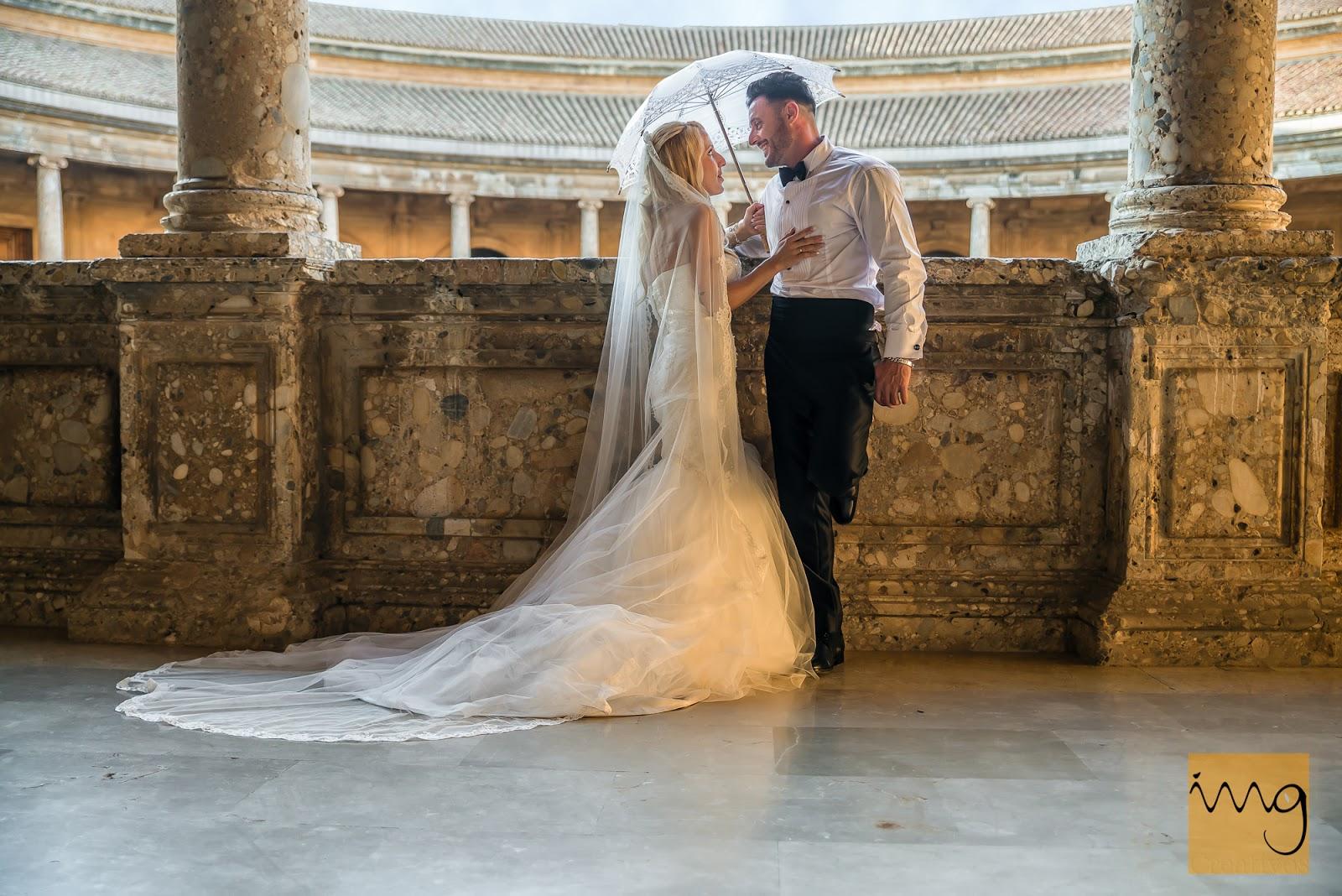 Foto de boda en el Palacio de Carlos V