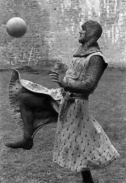 John Cleese on the Holy Grail set