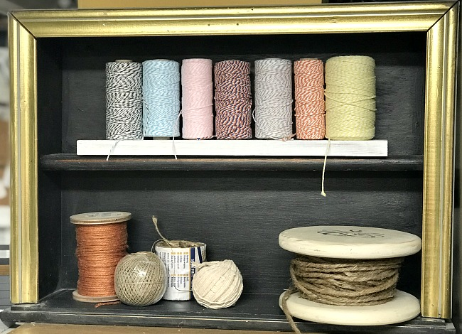 Baker's Twine Organizer and a repurposed drawer with a frame
