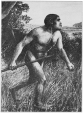 "A 1913 reconstruction of ""Eoanthropus dawsoni"" as a drawing."