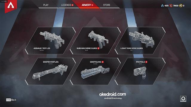 design menu user interface item tipe jenis senjata unik game apex legends pc